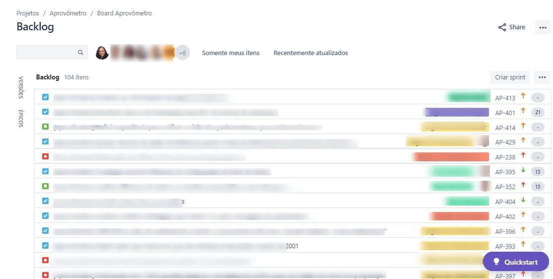 Printscreen do backlog do Aprovômetro