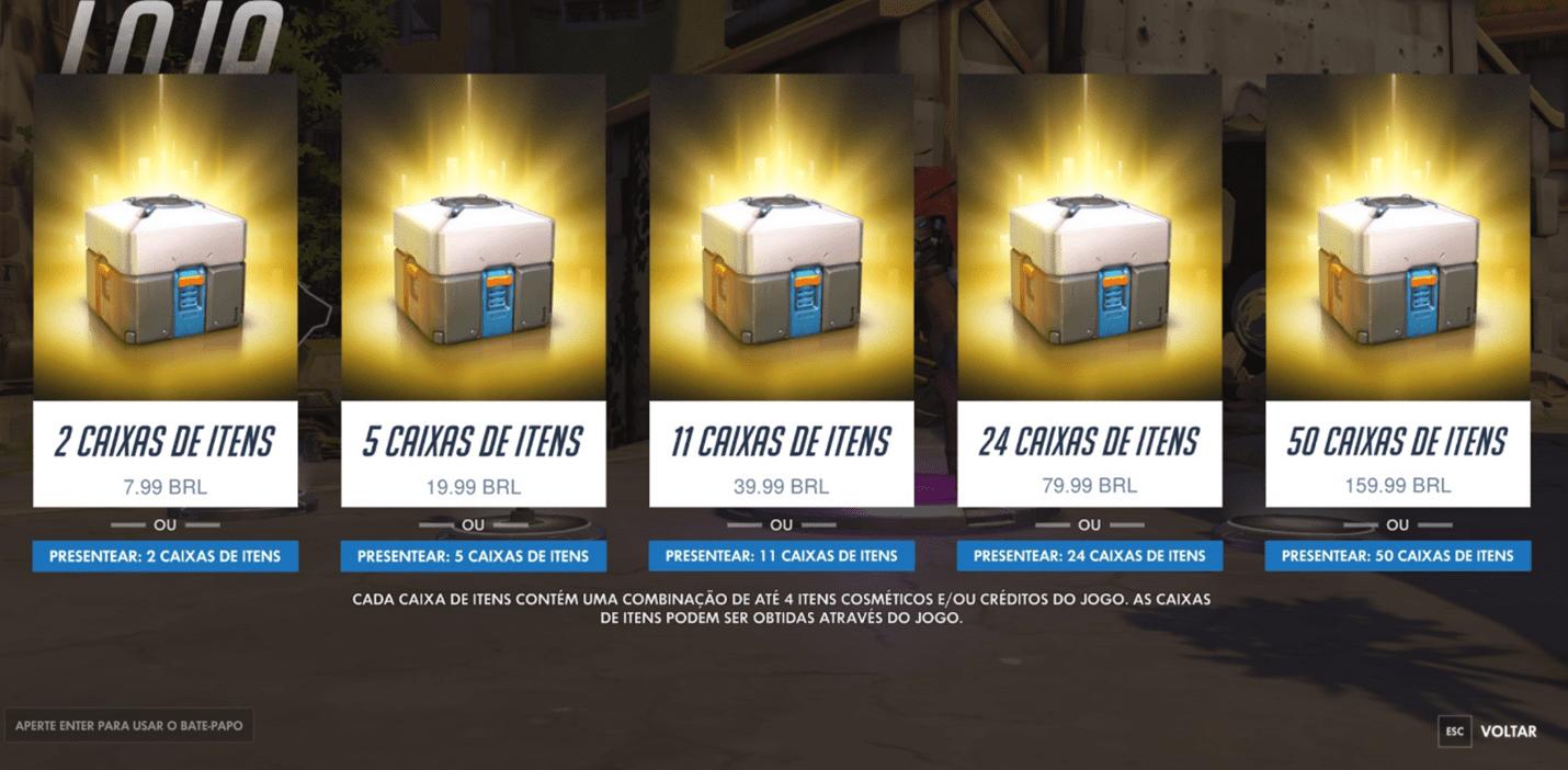 Imagem de loot boxes em jogo digital