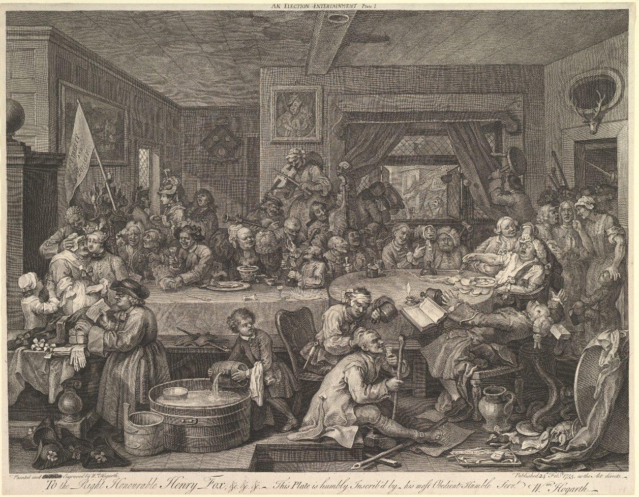 Gravura mostra um dia de eleição no século 18